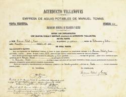 Contracte de venda d'aigua de la companyia Acueducto Villanovés